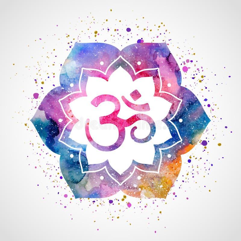 Om sign in lotus flower stock vector illustration of ayurveda om sign in lotus flower rainbow watercolor texture and splash vector isolated spiritual buddhist hindu symbol mightylinksfo