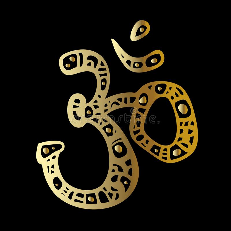 Om symbol. Aum, ohm. Ohm. Om Aum Symbol. Vector hand drawn illustration royalty free illustration