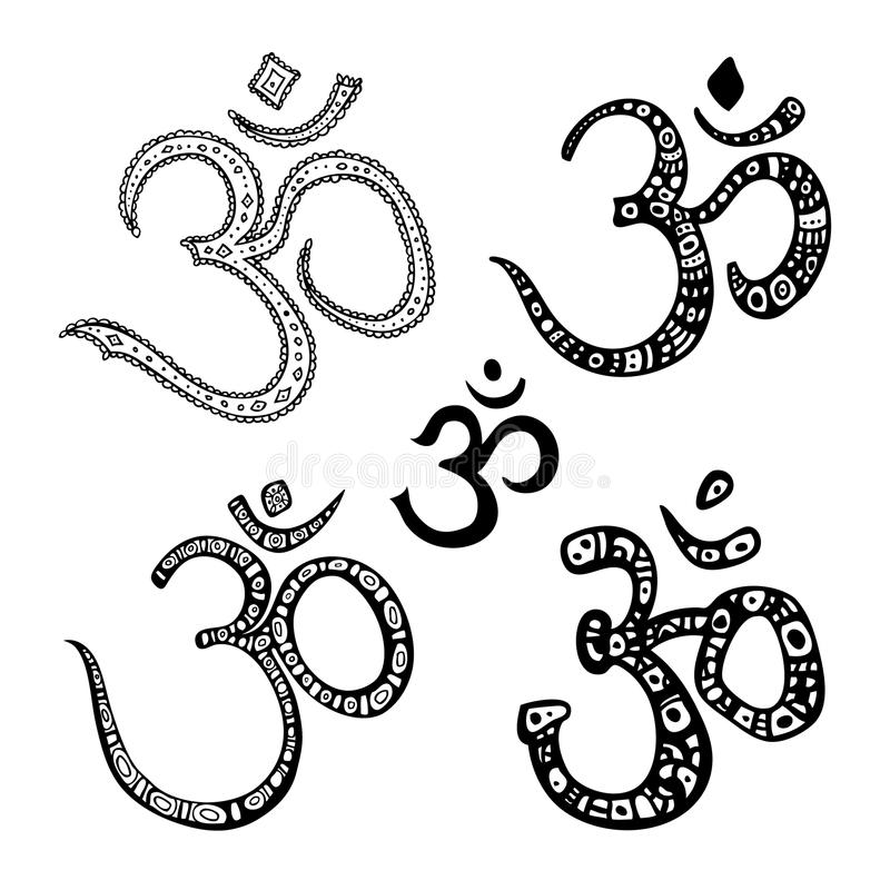 Om symbol. Aum, ohm. Ohm. Om Aum Symbol. Vector hand drawn illustration set royalty free illustration