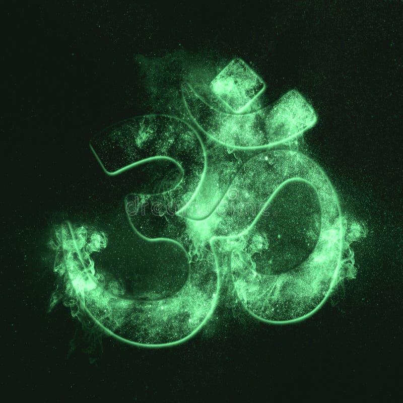 Om symbol. Hindu religion. Green symbol. Symbol royalty free stock photo