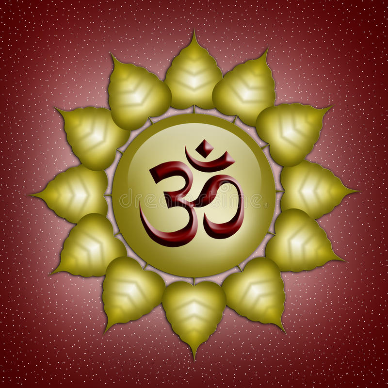 Om symbol. Illustration of om symbol in the golden sun vector illustration