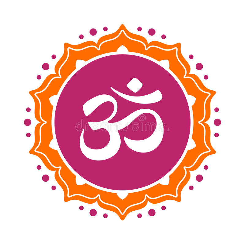 Om symbol. Omkara in Devanagari and Hindi style royalty free illustration