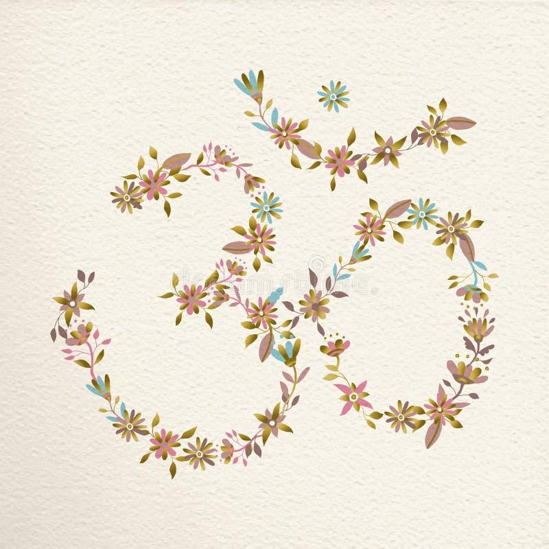 Om symbol robić kwiaty dla joga ilustracji
