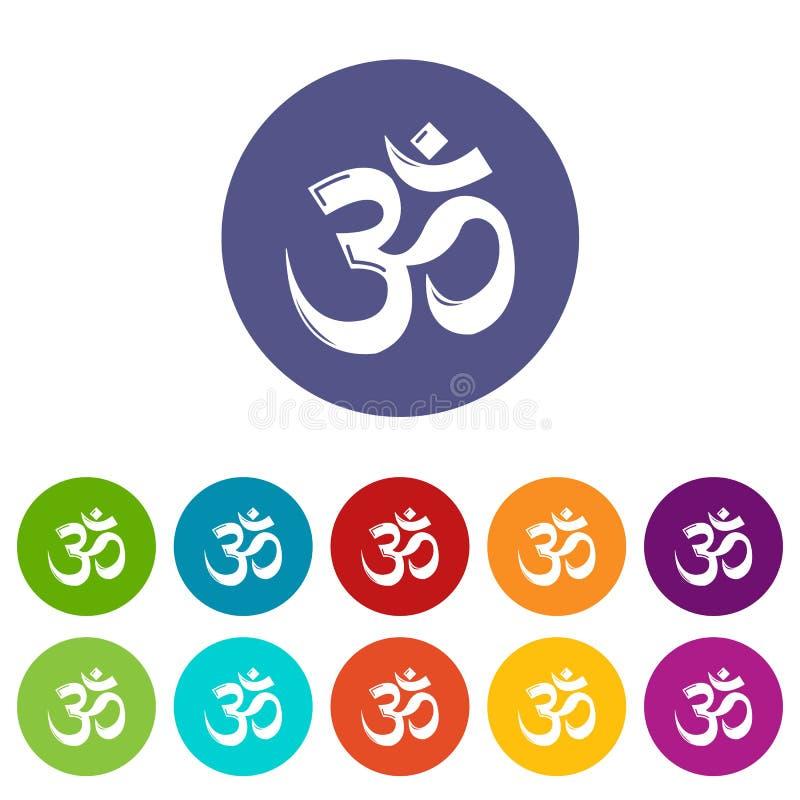 Om symbolu hinduism ikona ustawiający wektorowy kolor ilustracja wektor