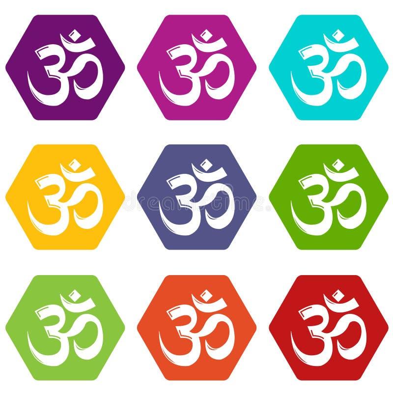 Om symbolu hinduism ikony ustawiają 9 wektor ilustracja wektor