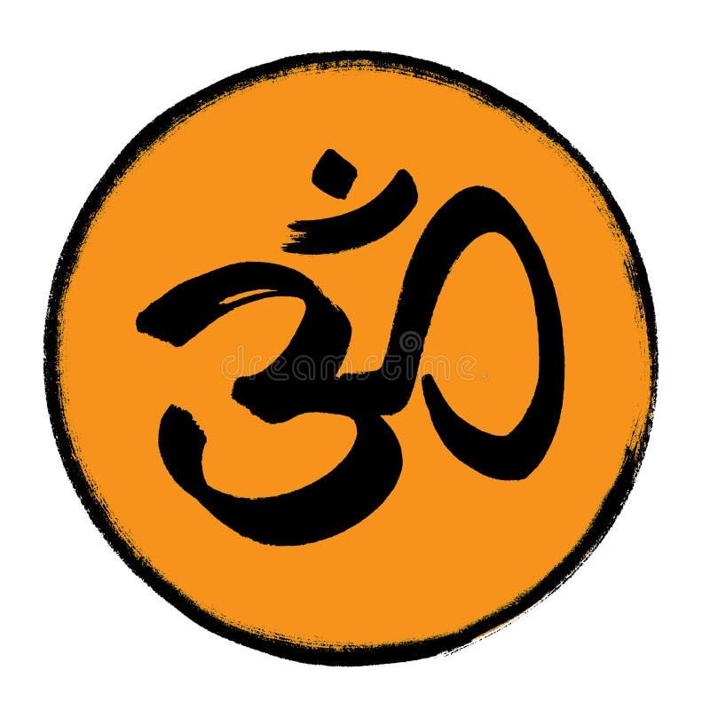 Om symbool in een cirkel stock illustratie