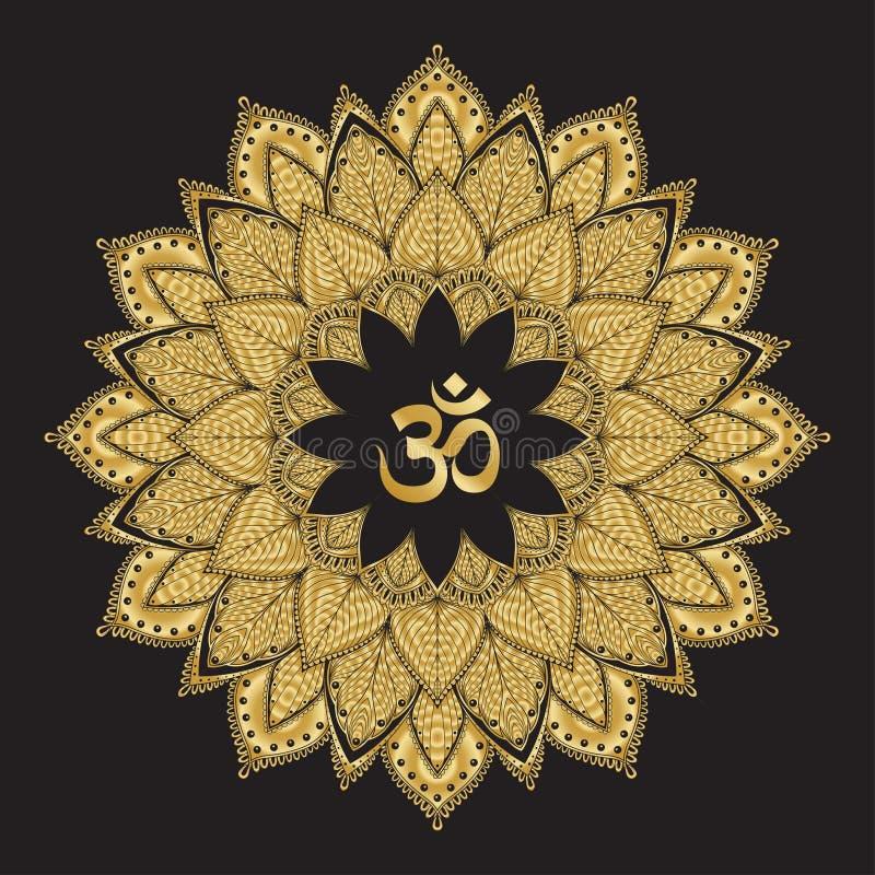 Om symbool met mandala Rond gouden Patroon op zwarte achtergrond stock illustratie