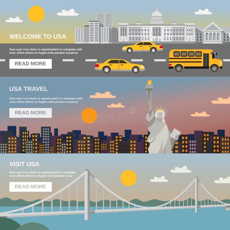 Om USA för plana baner fastställd information lopp royaltyfri illustrationer