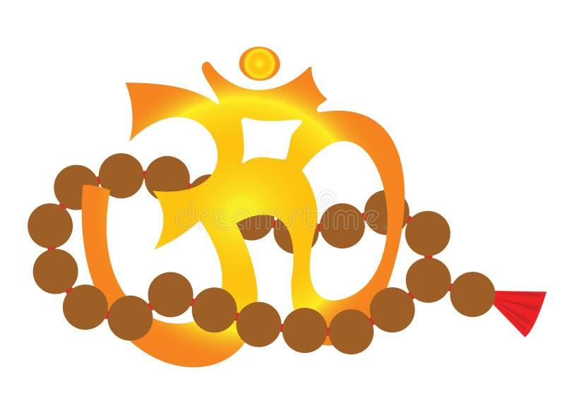 OM - Yoga Symbol und mala lizenzfreie abbildung