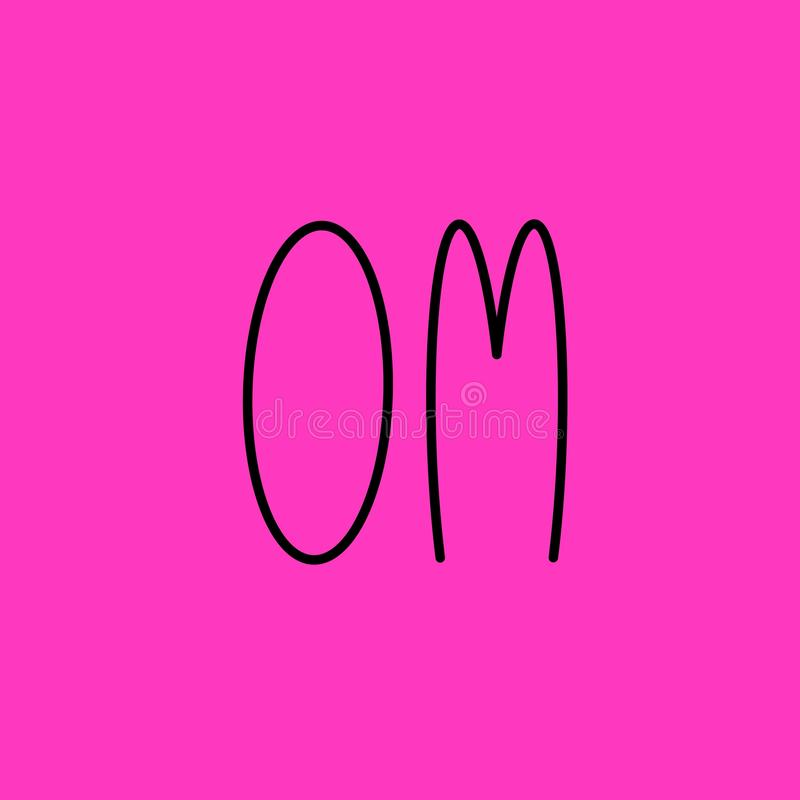 Om Yogaillustratie met het van letters voorzien Meditatie, boeddhisme en hinduismthema Met de hand geschreven woord op roze achte royalty-vrije illustratie