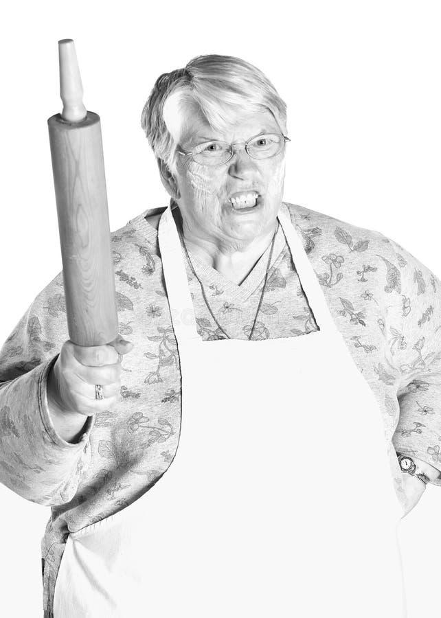 Oma in der Küche stockfoto. Bild von lustig, küche