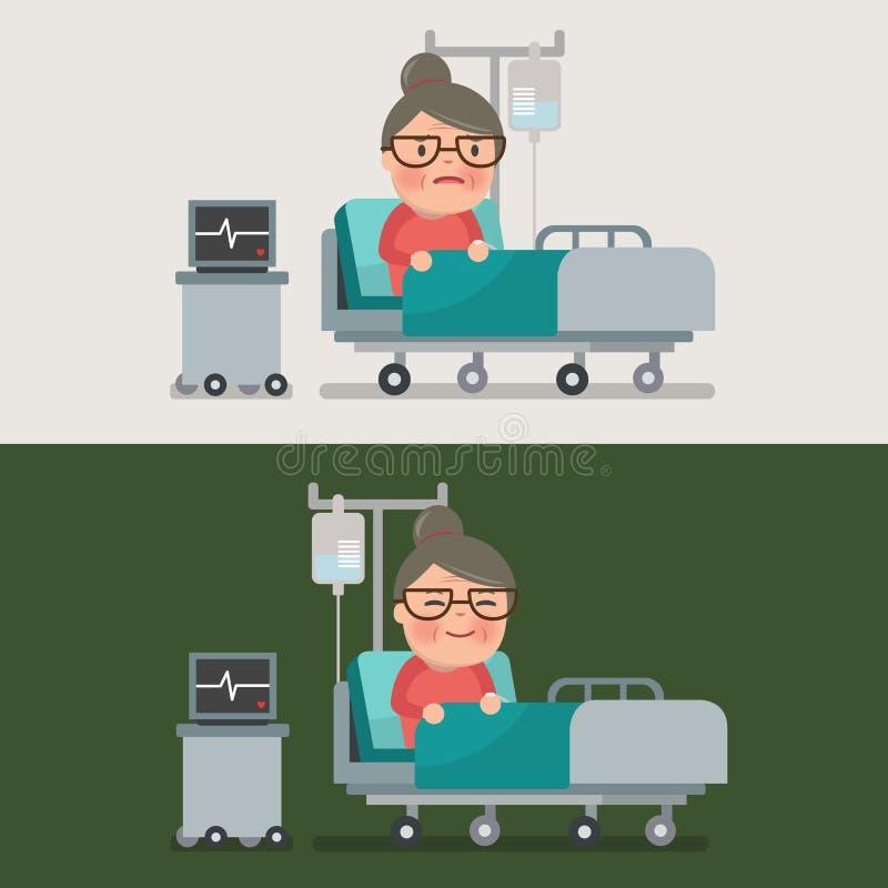 Oma die bij het ziekenhuisbed rusten stock illustratie