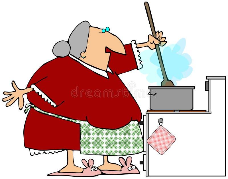 Oma die de Jus beweegt stock illustratie