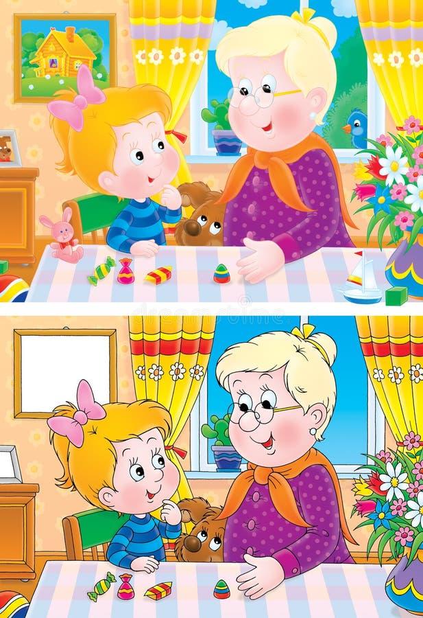 Oma en kleindochter vector illustratie