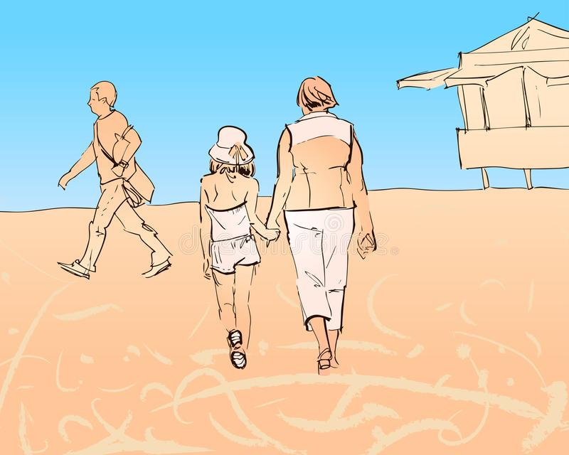 Oma en kleindochtergangen langs het strand royalty-vrije illustratie