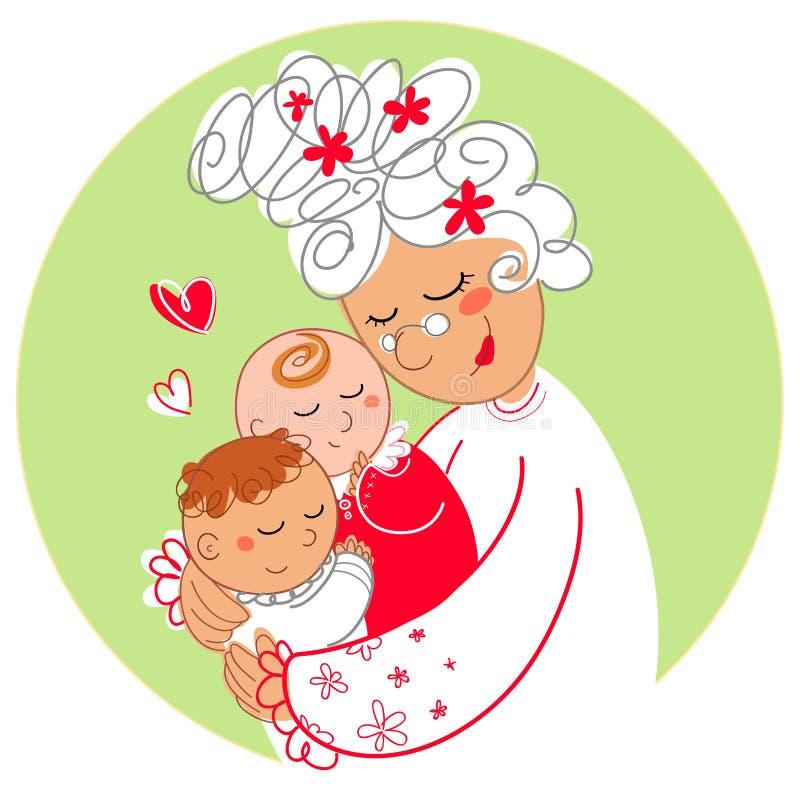 Oma met babytweelingen royalty-vrije illustratie
