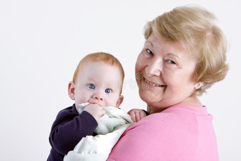 Oma met kleinzoon royalty-vrije stock foto's