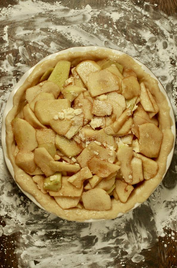 Oma-Smith Apple Pie Tart Overhead-Ansicht lizenzfreie stockfotografie