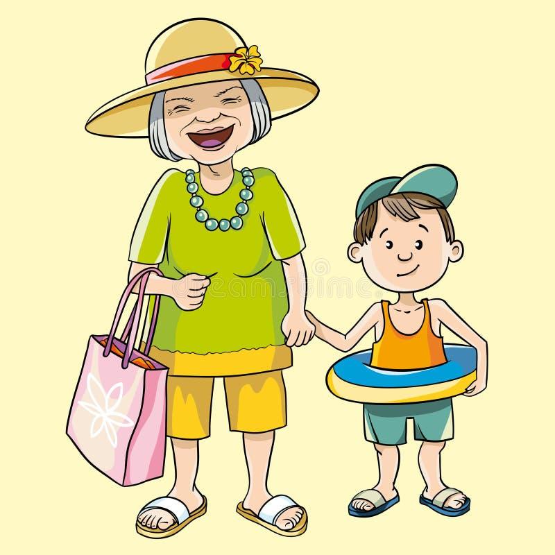 Oma und Enkel vektor abbildung