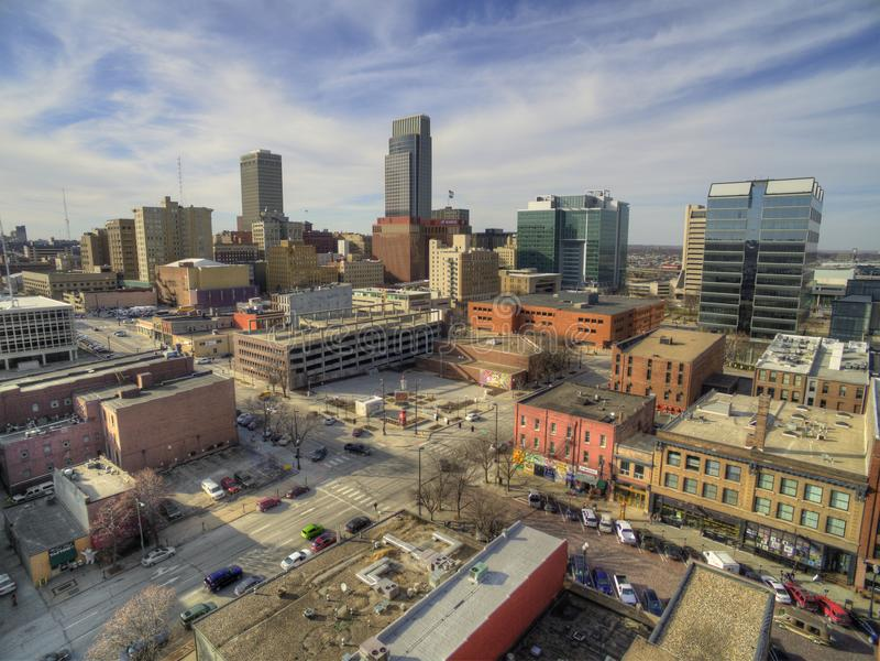 Omaha är en Major Urban Center och en störst stad i staten av Nebraska arkivfoto