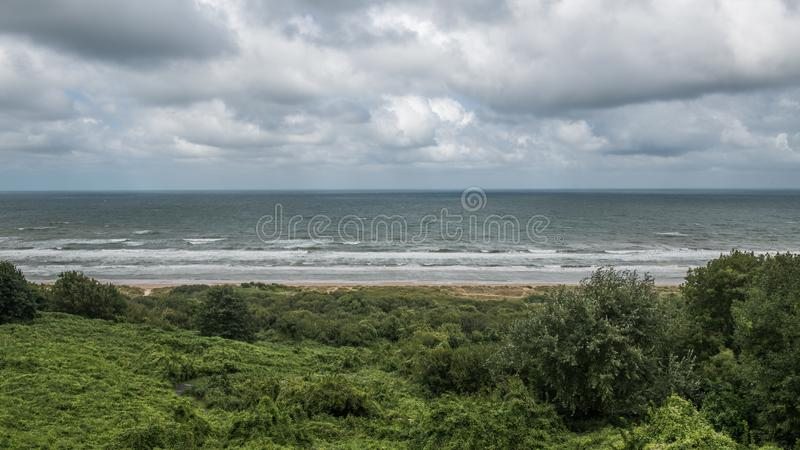 Omaha Beach, Normandy. Omaha Beach at Colleville-sur-Merwas one of the two American landing areas in Normandy. 5.9 kilometers long, this beach is 12 kilometers stock photos