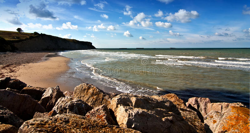 Omaha beach in Normandy. Scenic view of Omaha beach used during D-Day invasion, Normany, France royalty free stock photo