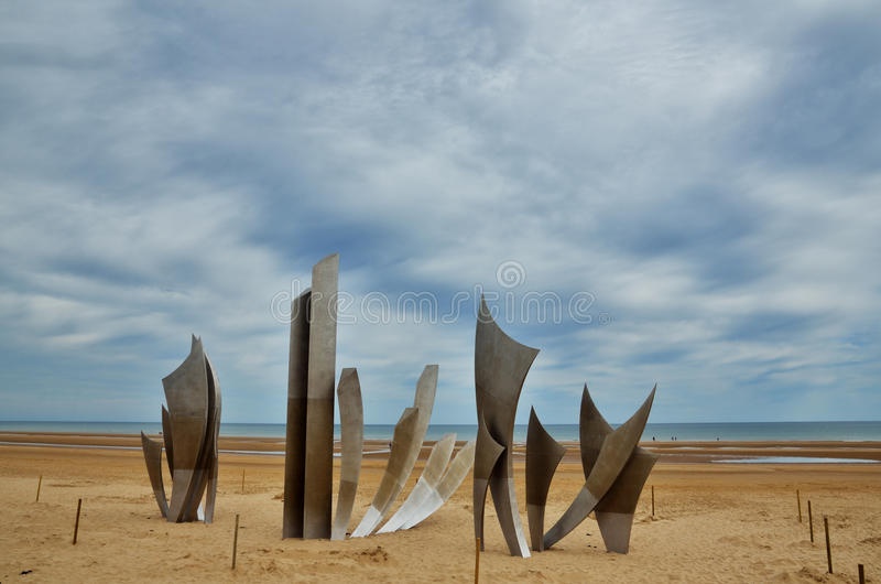 Omaha beach, Normandy. Omaha Beach was one of the landing area of the Normandy Invasion of World War II stock image