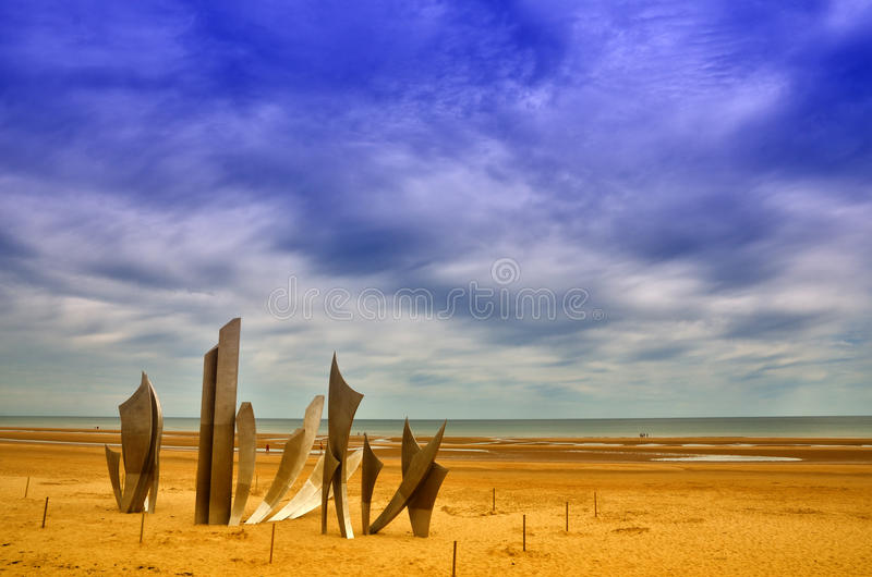 Omaha beach, Normandy. Omaha Beach was one of the landing area of the Normandy Invasion of World War II royalty free stock image