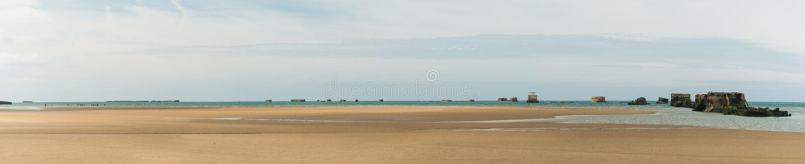 Omaha beach panorama stock images