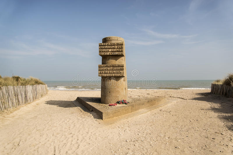 Omaha Beach. VIERVILLE SUR MER - APRIL 6: the memorial on Omaha Beach in Normandy on April 6, 2015 Vierville Sur Mer, France stock images