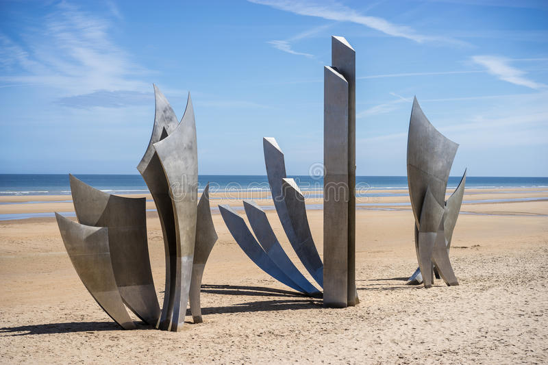 Omaha beach world war 2 memorial to fallen American soldiers. Stainless steel modern art memorial to WW2 American soldiers on Omaha beach, Normandy, France stock photo