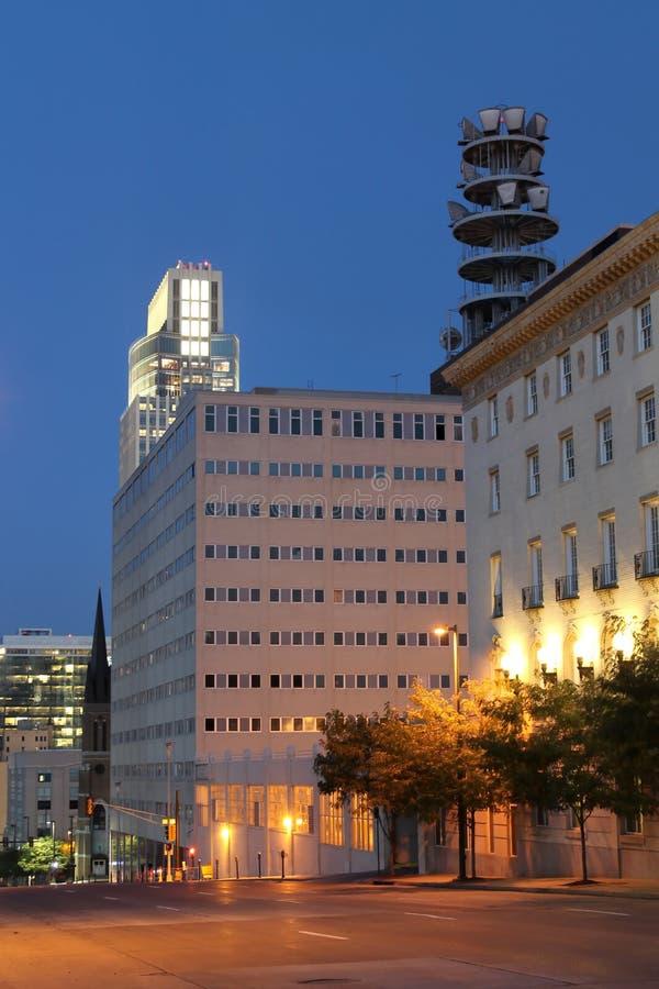 Omaha Nebraska en la noche imagen de archivo libre de regalías