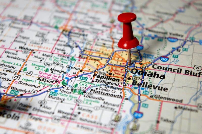 Omaha, Nebraska. A map of Omaha, Nebraska marked with a push pin stock image