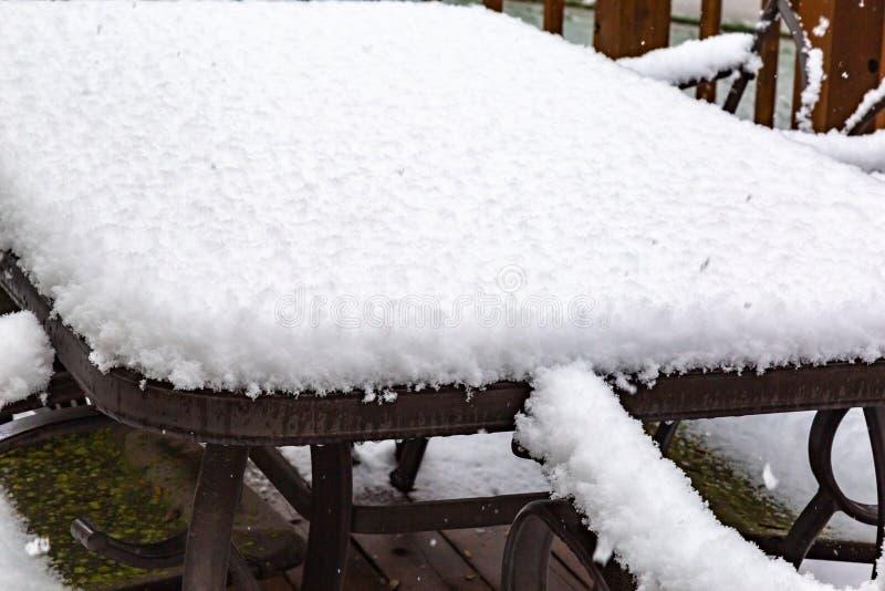 Neighborhood under seige: First snow of 2018 winter season in Omaha Nebraska USA. An Omaha neighborhood, photo taken through an upper level window, under seige royalty free stock images