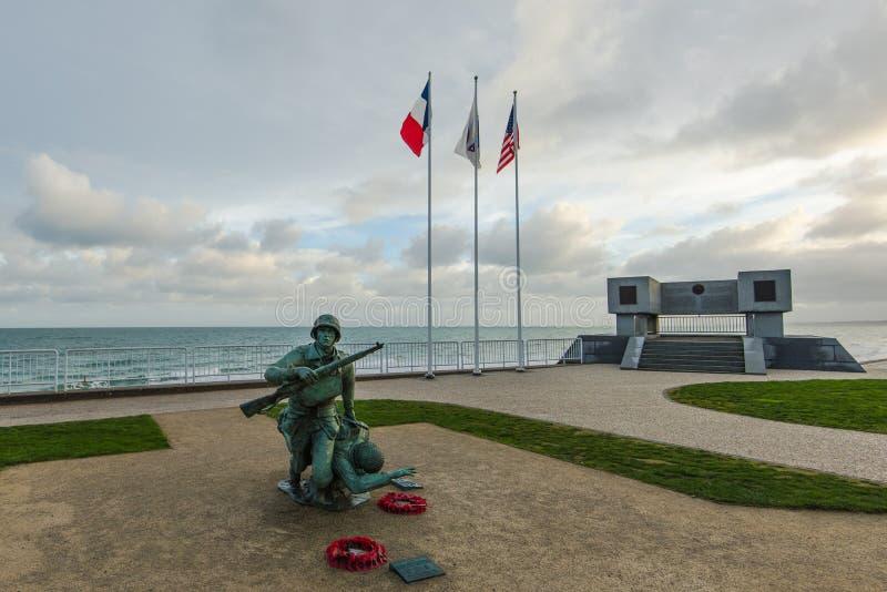 Omaha Plażowy Wojenny pomnik w Normandy, Francja obrazy royalty free