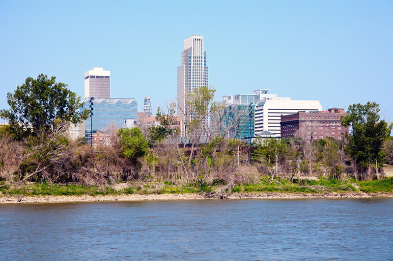 Omaha and the river. Omaha, Nebraska and the river seen in the morning royalty free stock images