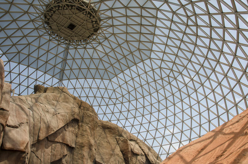 Omaha`s Henry Doorly Zoo Desert Dome. Architecture at the Omaha`s Henry Doorly Zoo. This is the Dome that houses desert wildlife animals and plants. The world`s stock photography