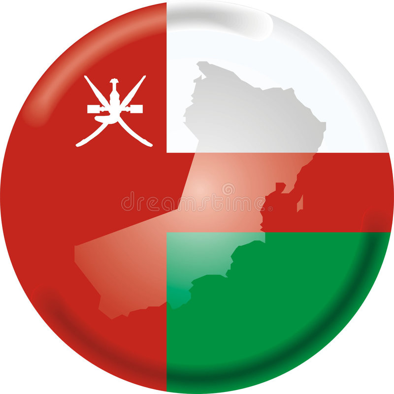 Oman. Art illustration: round medal with map and flag of oman vector illustration