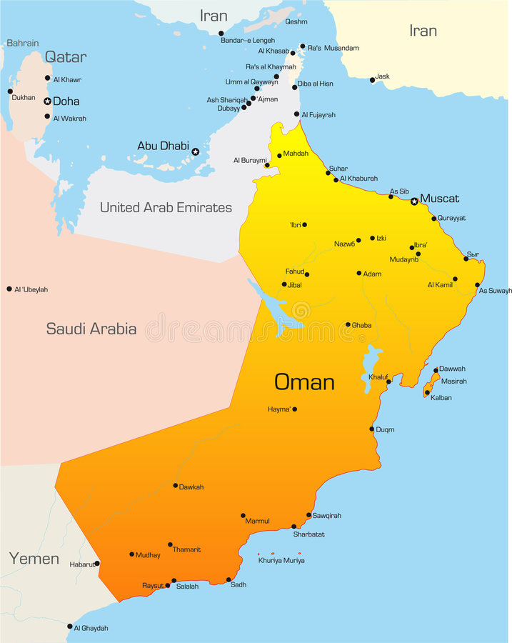 Oman. Abstract vector color map of Oman country vector illustration