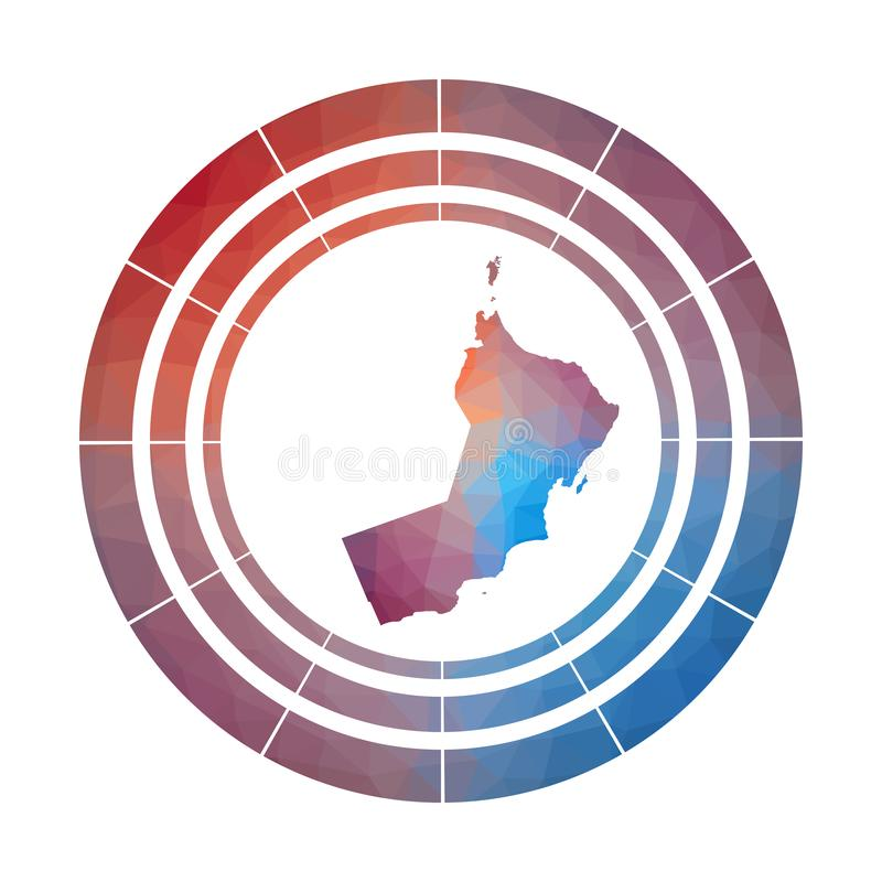 Oman badge. Bright gradient logo of country in low poly style. Multicolored Oman rounded sign with map in geometric style for your infographics stock illustration