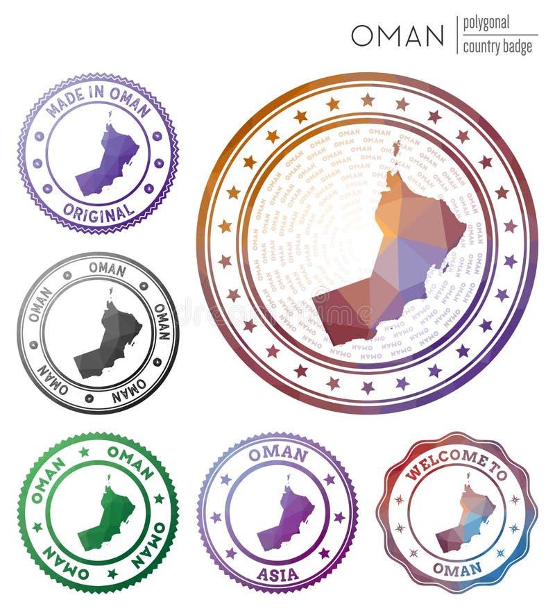 Oman badge. Colorful polygonal country symbol. Multicolored geometric Oman logos set. Vector illustration royalty free illustration