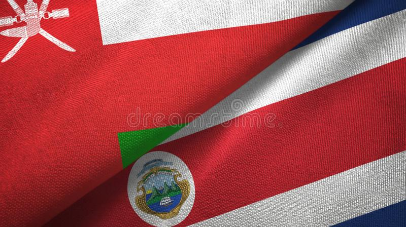 Oman and Costa Rica two flags textile cloth, fabric texture vector illustration