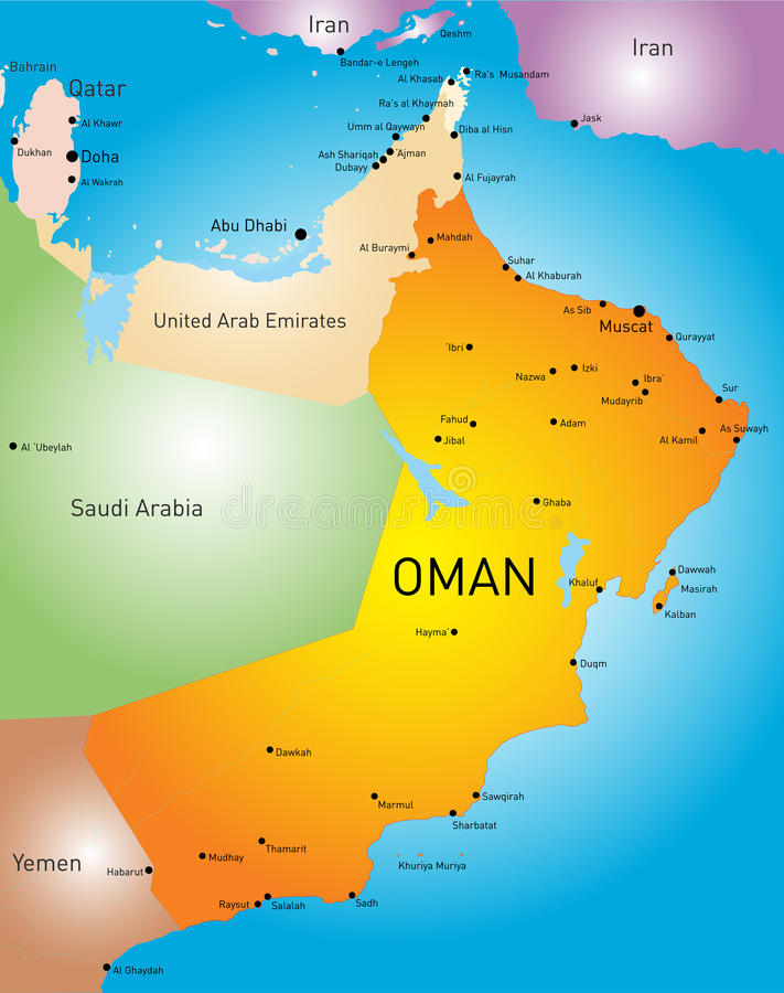 Oman country. Vector color map of Oman country vector illustration