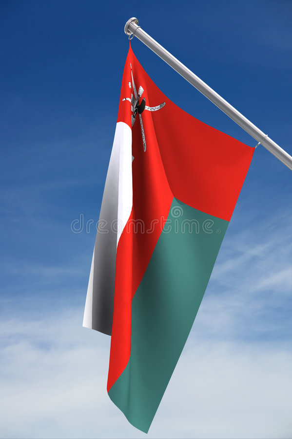 Oman Flag. A close up on the Oman flag hanging from a pole with a blue sky and clouds in the background. Clipping path included stock illustration