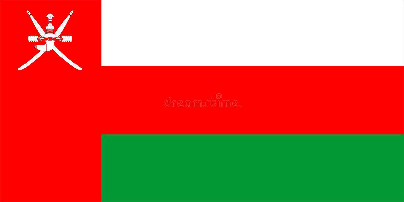 Oman Flag. 2D illustration of the flag of Oman vector illustration