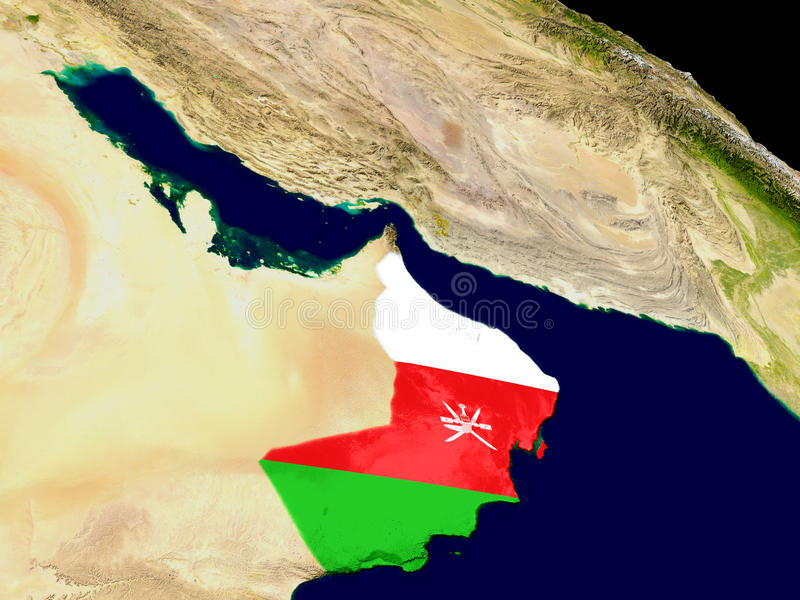 Oman with flag on Earth. Map of Oman with embedded flag on planet surface. 3D illustration. Elements of this image furnished by NASA stock illustration