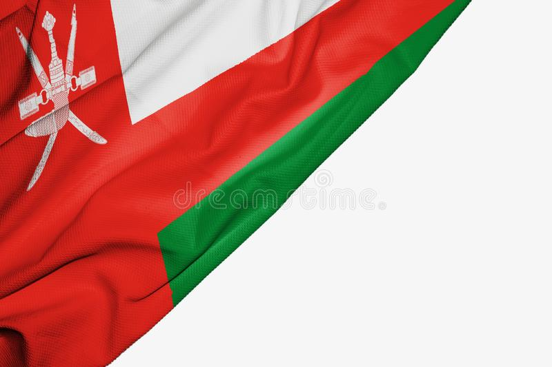 Oman flag of fabric with copyspace for your text on white background. Asia asian banner best capital colorful competition country ensign free freedom glory royalty free illustration