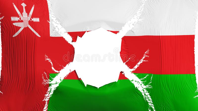 Oman flag with a hole. White background, 3d rendering stock illustration