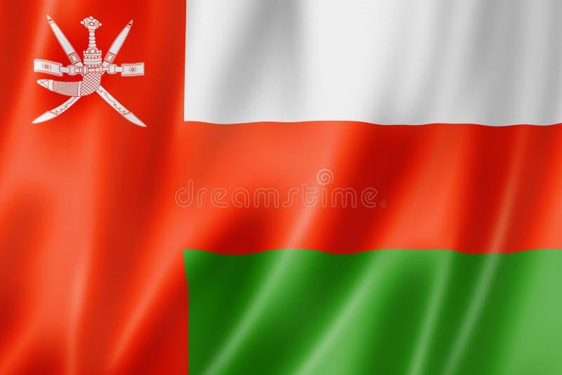 Oman flag. Three dimensional render, satin texture vector illustration