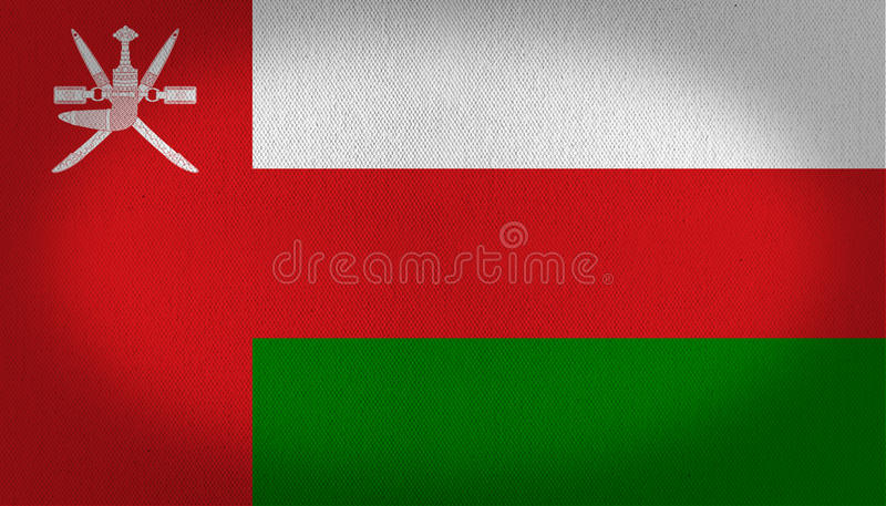 Oman flag. Three horizontal lines at the right side, white red and green lines, left vertical red line with a graphic made by arms at the top left side, fabric stock illustration